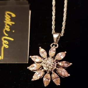 Cookie Lee jewelry CZ silver flower necklace